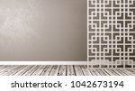 empty room with white oriental... | Shutterstock . vector #1042673194