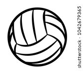 volleyball ball silhouette... | Shutterstock .eps vector #1042679365