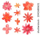 floral set. collection with... | Shutterstock . vector #1042680631