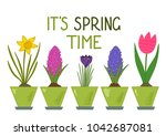 it's spring time. daffodil ... | Shutterstock .eps vector #1042687081