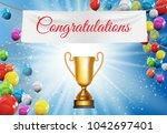 gold cup winner congratulations ... | Shutterstock .eps vector #1042697401
