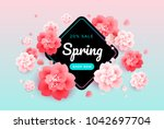 spring sale background banner... | Shutterstock .eps vector #1042697704