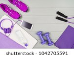 sport and fitness accessories ... | Shutterstock . vector #1042705591