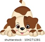 Stock vector pet dog playing 104271281