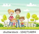 jung family in the garden....   Shutterstock .eps vector #1042714894