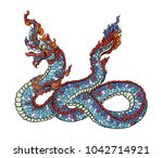 thai traditional tattoo design... | Shutterstock .eps vector #1042714921