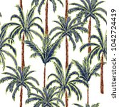 A Summer Palm Trees On The...