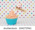 Blue Pink Cupcake With Label O...