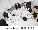 group of happy young  business... | Shutterstock . vector #104273324
