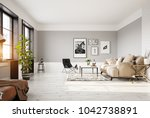 modern living room interior. 3d ... | Shutterstock . vector #1042738891