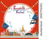 songkran festival at thailand ...   Shutterstock .eps vector #1042752241