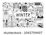 hand drawn fashion illustration.... | Shutterstock .eps vector #1042754407