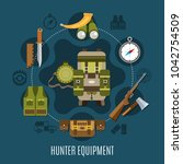 hunter equipment concept with... | Shutterstock . vector #1042754509