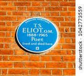 Small photo of London, UK - March 8, 2018: English Heritage blue plague of where the famous poet T.S Eliot lived and died