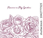 vintage vector floral template... | Shutterstock .eps vector #1042777525