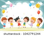 vector illustration of kids... | Shutterstock .eps vector #1042791244