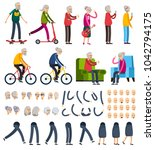 aged elderly people man woman... | Shutterstock . vector #1042794175