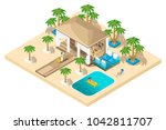 isometric rest house  a girl... | Shutterstock .eps vector #1042811707