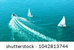 aerial photo of speedboat... | Shutterstock . vector #1042813744