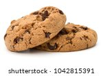two chocolate chip cookies... | Shutterstock . vector #1042815391