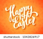 happy easter poster with hand... | Shutterstock .eps vector #1042826917