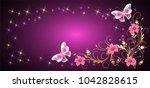 floral ornament frame with... | Shutterstock .eps vector #1042828615