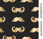 seamless gold mustach pattern.... | Shutterstock .eps vector #1042841071