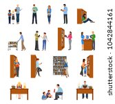 library icons set with people... | Shutterstock . vector #1042844161