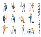 flat color icons set of plumber ... | Shutterstock . vector #1042844761