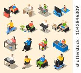 sedentary icon isometric... | Shutterstock . vector #1042846309