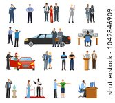 bodyguard icons set with... | Shutterstock . vector #1042846909