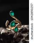 gold ring with emerald on black ... | Shutterstock . vector #1042850257