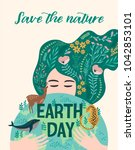 earth day. vector illustration... | Shutterstock .eps vector #1042853101