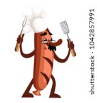 grill sausage character design. ... | Shutterstock .eps vector #1042857991