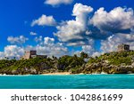 mexico. the mayan city of tulum.... | Shutterstock . vector #1042861699
