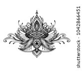 abstract zen tangle zen doodle  ... | Shutterstock .eps vector #1042866451