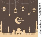 soft brown eid mubarak greeting ... | Shutterstock .eps vector #1042868827