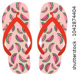 Pink And Red Vector Flip Flops...