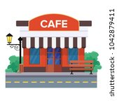 a street cafe or coffee shop... | Shutterstock .eps vector #1042879411