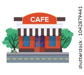 a street cafe or coffee shop... | Shutterstock .eps vector #1042879441