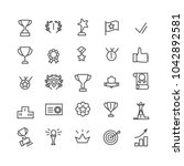 award icon set. line art.... | Shutterstock .eps vector #1042892581