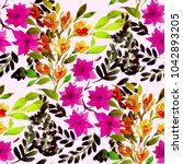 watercolor seamless pattern... | Shutterstock . vector #1042893205