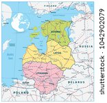 political map of the baltic... | Shutterstock .eps vector #1042902079