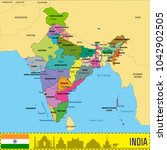 political detailed map of india ...   Shutterstock .eps vector #1042902505