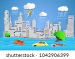 flooding water in city   rain... | Shutterstock .eps vector #1042906399