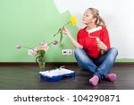 young woman with flower and... | Shutterstock . vector #104290871