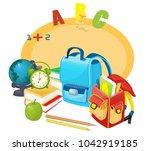 school bag  school objects | Shutterstock .eps vector #1042919185