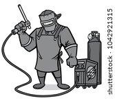 welder illustration   a vector... | Shutterstock .eps vector #1042921315