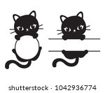 cute black silhouette cat round ... | Shutterstock .eps vector #1042936774