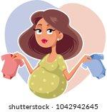 mother holding baby onesies...   Shutterstock .eps vector #1042942645